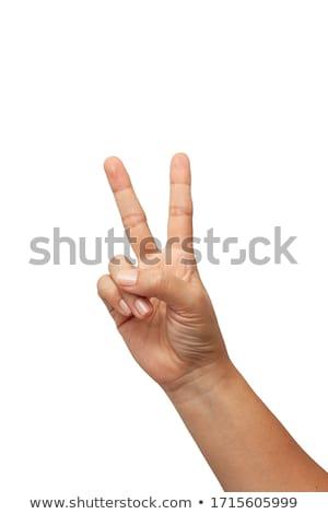 kéz · kettő · ujjak · felfelé · béke · győzelem - stock fotó © inxti