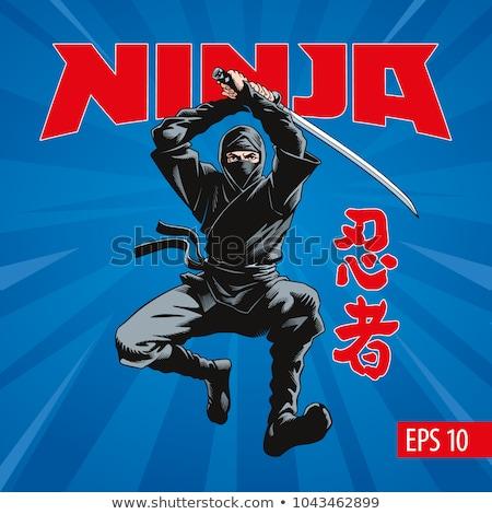 Ninja zwaard illustratie vechter man veiligheid Stockfoto © vectomart
