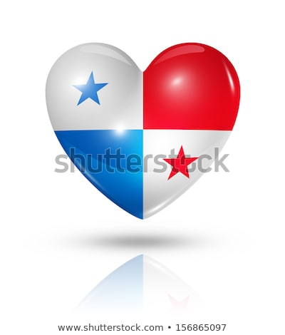 Panama Flag In Heart Shape Isolated On White Background ストックフォト © Daboost