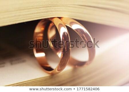 обручальное кольцо Библии открытых брак священное писание Сток-фото © piedmontphoto