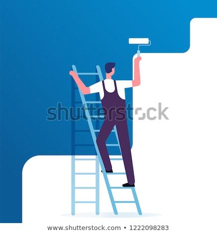 man · verf · ladder · muur · home · achtergrond - stockfoto © photography33