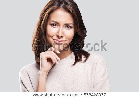 Gyönyörű barna hajú nő portré smink barna szemek szexi Stock fotó © juniart
