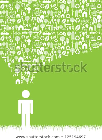 think green with leaf sign in green button stock photo © marinini