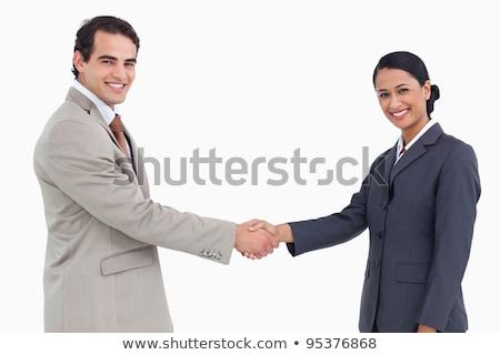 Mosolyog elarusítónő kezet fog fehér üzlet férfi Stock fotó © wavebreak_media