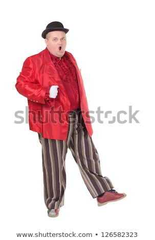 Obese man in a red costume and bowler hat Stock photo © Discovod