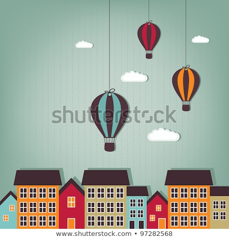 Air balloon flying over town Stock photo © zzve