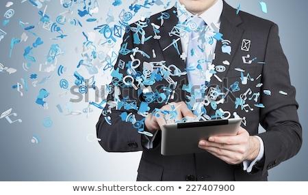 technologia · informacyjna · niebieski · arrow · slogan · szary · 3d - zdjęcia stock © tashatuvango