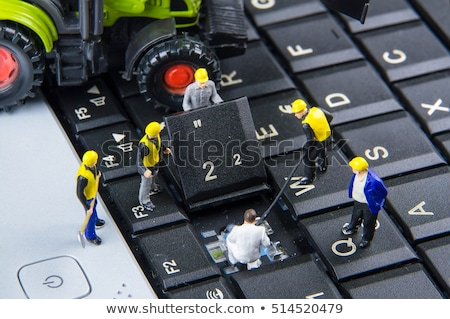 Team of construction workers working on a computer keyboard Stock photo © Kirill_M