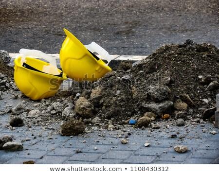 Védősisak baleset munka kalapács leragasztott sisak Stock fotó © idesign