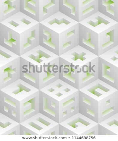 Data Mining On Green Puzzle Stok fotoğraf © ALMAGAMI