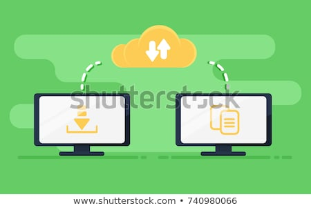 Data Migration on Blue in Flat Design. Stock photo © tashatuvango