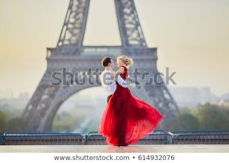romantikus · csók · Párizs · boldog · valentin · nap · szeretet - stock fotó © adrenalina