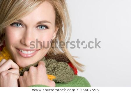 Prachtig blond vrouw mooie groene ogen kijken Stockfoto © dash