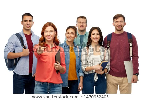 Stock photo: happy group of casual people pointing fingers