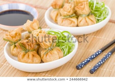 Wonton Oriental deep fried wontons filled Stock photo © Witthaya
