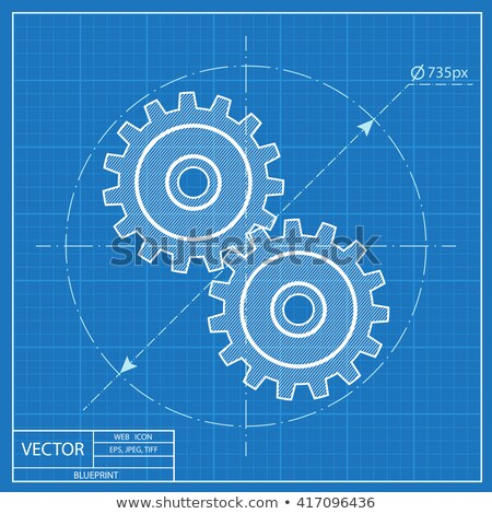 Technological Cooperation Concept. Blueprint of Gears. Stock photo © tashatuvango