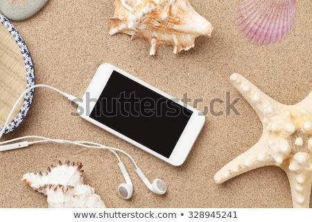 Smartphone on sea sand with starfish and shells Stock photo © karandaev