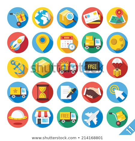 freight cargo delivery transportation and logistic flat icons stock photo © loopall