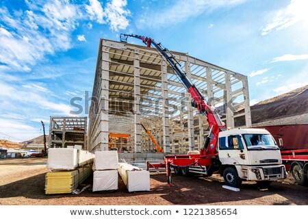 Teherautó állvány emel épület anyagok érték Stock fotó © mayboro1964