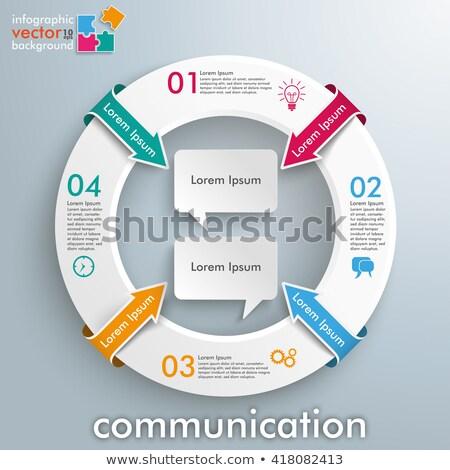 2 round speech bubbles colored centre copyspace stock photo © limbi007