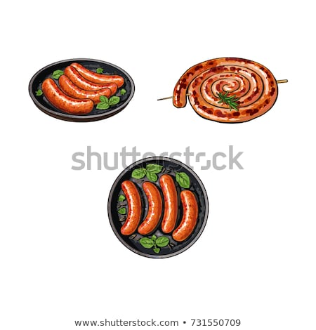 One fried sausage on the skillet Stock photo © Klinker