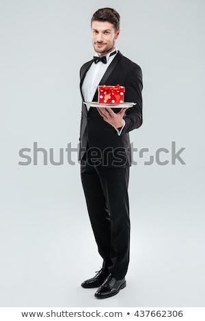 Mayordomo pie bandeja caja de regalo Foto stock © deandrobot