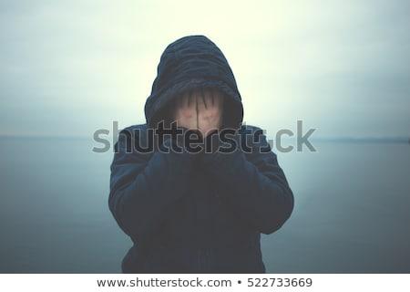 Stock fotó: Szomorú · kék · férfi · arc · sír · kétségbeesés