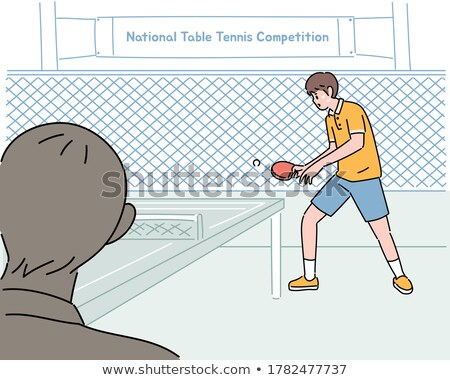 Proste szkic chłopca gry tenis ilustracja Zdjęcia stock © bluering