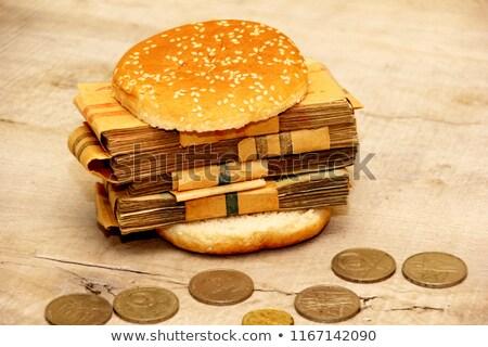 Dollár szendvics bankjegyek kettő szeletek teljeskiőrlésű Stock fotó © Leftleg