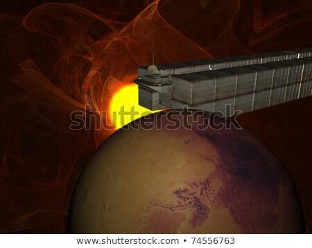 szemét · hajó · nap · földgömb · naplemente · világ - stock fotó © sebikus