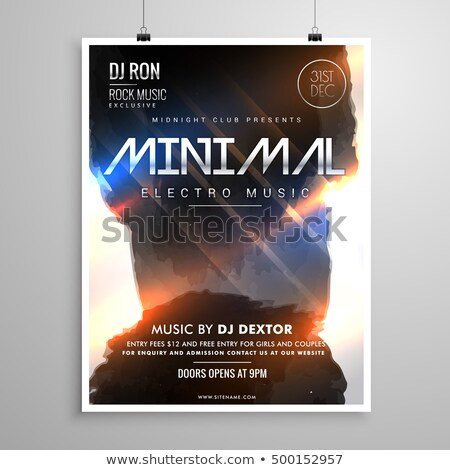 minimal grunge style music party flyer template with glowing lig Stock photo © SArts