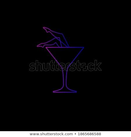 Sztriptíztáncos éjszakai klub ikon narancs fekete nő Stock fotó © angelp