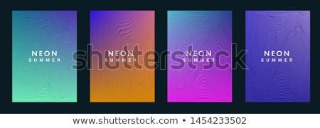 modern minimal brochure flyer template in blue geometric style Stock photo © SArts