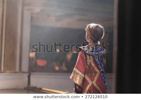 Fiú jelmez színpad illusztráció gyermek háttér Stock fotó © bluering