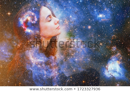 Woman Yoga and meditation, beautiful blue abstract background stock photo © Tefi