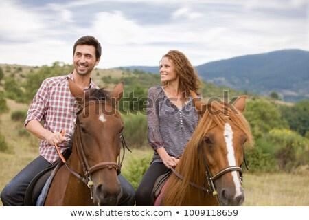 fiatal · nő · lovaglás · ló · vidéki · boldog · mező - stock fotó © monkey_business