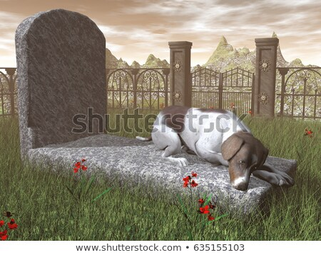 Dog on a tombstone - 3D render Stock photo © Elenarts
