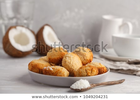 cup of tea with coconut cookies stock photo © dariazu