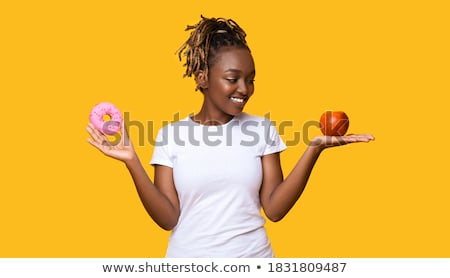 Citromsárga fánk kéz fekete étel háttér Stock fotó © Sibstock