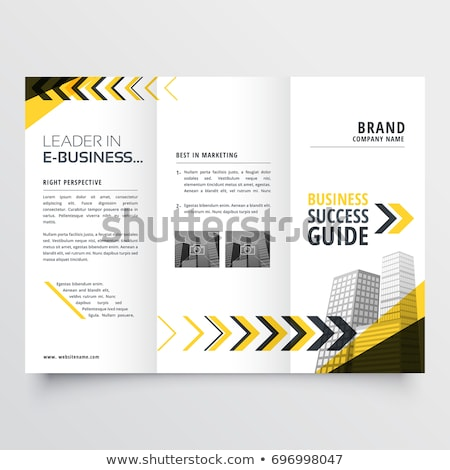 awesome tri fold brochure design in yellow black shapes with arr Stock photo © SArts