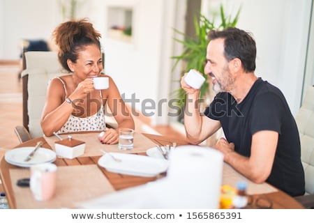 Güzel çift oturma kafe kadın Stok fotoğraf © tekso