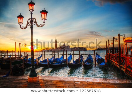 gondolas floating in the grand canal at night venice stock photo © neirfy