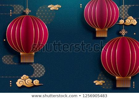 Stok fotoğraf: Vektör · Çin · bahar · fener · festival · altın