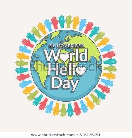 Dünya merhaba gün tatil kart Stok fotoğraf © Olena