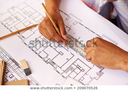 Tanulás építészet helyszín tervek építkezés padló Stock fotó © asturianu