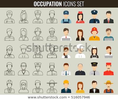 Trabalhador ícone pictograma estilo gráfico cinza Foto stock © ahasoft