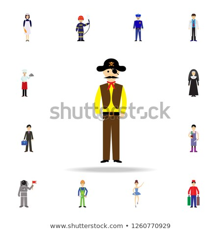 Pirate set icon. Flag and saber. piratical hat and wooden leg. E Stock photo © popaukropa