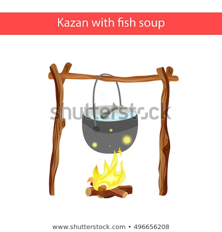 Tourist pot of water hanging over a fire of wood in the Camping stock photo © AlisLuch