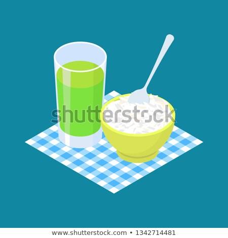 Basmati rice Porridge and fruit juice. Breakfast Healthy food. V Stock photo © MaryValery
