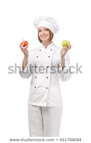 Portrait of a female chef holding fruit Stock photo © IS2